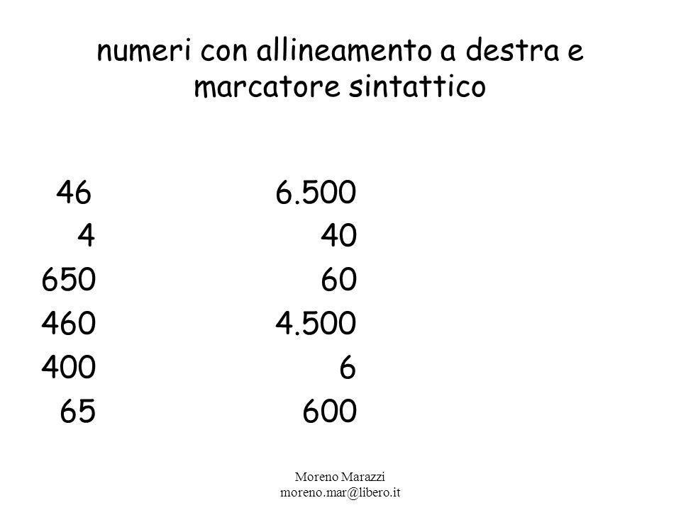 numeri con allineamento a destra e marcatore sintattico 466.500 4 40 650 60 4604.500 400 6 65 600 Moreno Marazzi moreno.mar@libero.it