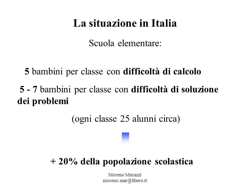 Moreno Marazzi moreno.mar@libero.it La situazione in Italia Scuola elementare: 5 5 bambini per classe con difficoltà di calcolo 5 - 7 bambini per classe con difficoltà di soluzione dei problemi (ogni classe 25 alunni circa) + 20% della popolazione scolastica