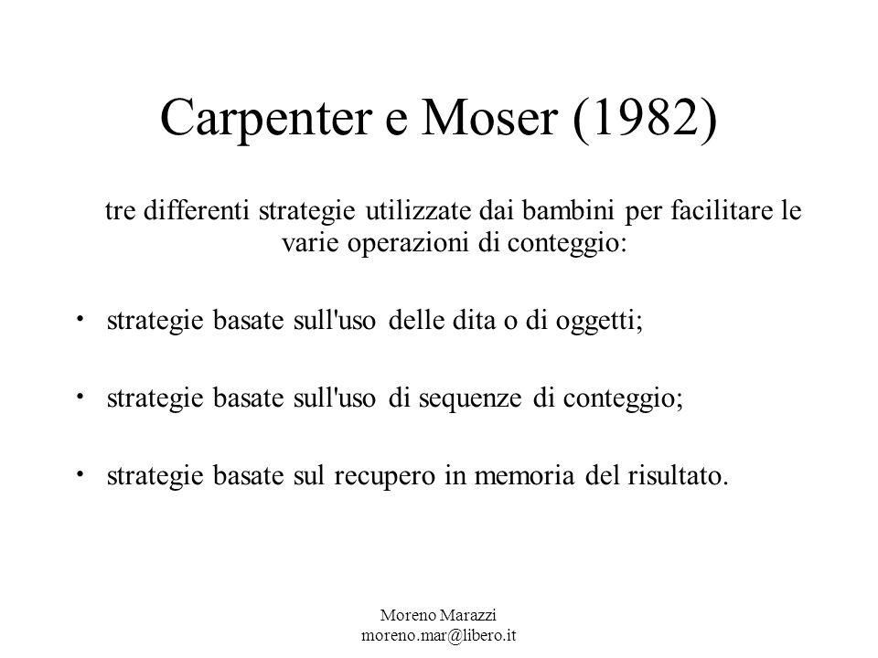 Carpenter e Moser (1982) tre differenti strategie utilizzate dai bambini per facilitare le varie operazioni di conteggio: strategie basate sull uso delle dita o di oggetti; strategie basate sull uso di sequenze di conteggio; strategie basate sul recupero in memoria del risultato.