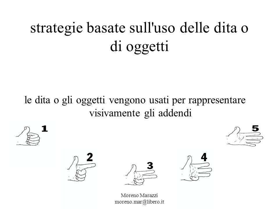 strategie basate sull uso delle dita o di oggetti le dita o gli oggetti vengono usati per rappresentare visivamente gli addendi Moreno Marazzi moreno.mar@libero.it