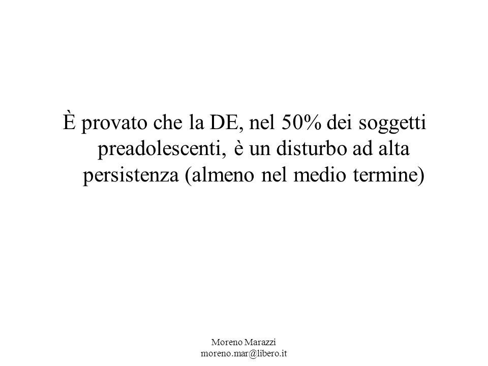 È provato che la DE, nel 50% dei soggetti preadolescenti, è un disturbo ad alta persistenza (almeno nel medio termine)