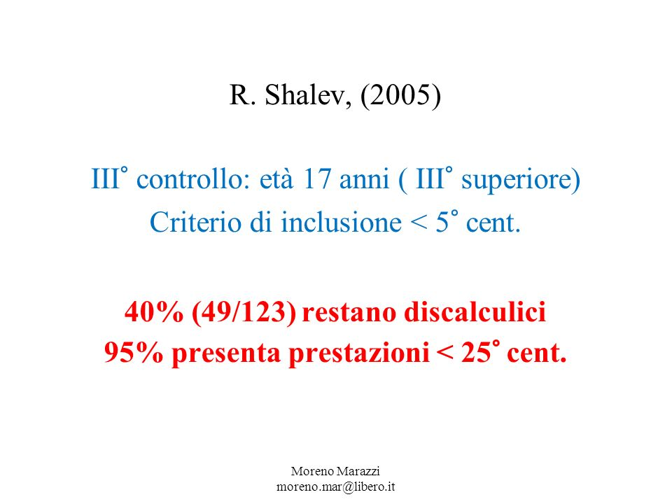 R.Shalev, (2005) III° controllo: età 17 anni ( III° superiore) Criterio di inclusione < 5° cent.