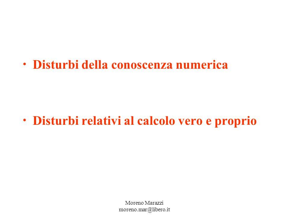 Disturbi della conoscenza numerica Disturbi relativi al calcolo vero e proprio Moreno Marazzi moreno.mar@libero.it