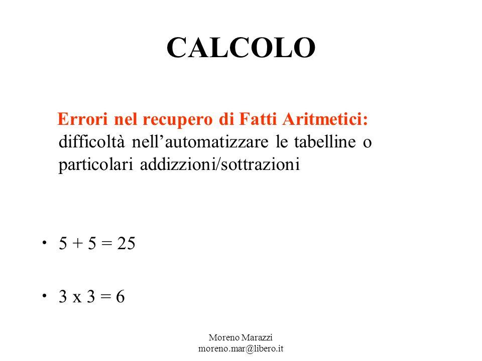 CALCOLO Errori nel recupero di Fatti Aritmetici: difficoltà nellautomatizzare le tabelline o particolari addizzioni/sottrazioni 5 + 5 = 25 3 x 3 = 6 Moreno Marazzi moreno.mar@libero.it