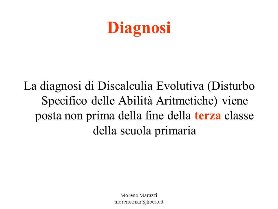 Diagnosi La diagnosi di Discalculia Evolutiva (Disturbo Specifico delle Abilità Aritmetiche) viene posta non prima della fine della terza classe della scuola primaria Moreno Marazzi moreno.mar@libero.it