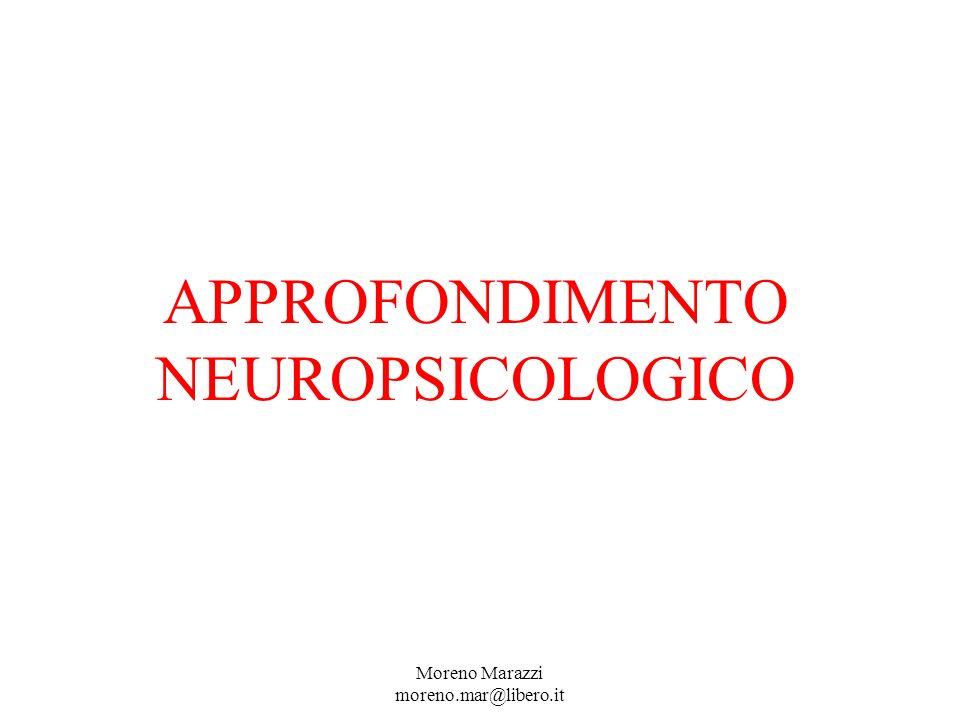 APPROFONDIMENTO NEUROPSICOLOGICO Moreno Marazzi moreno.mar@libero.it
