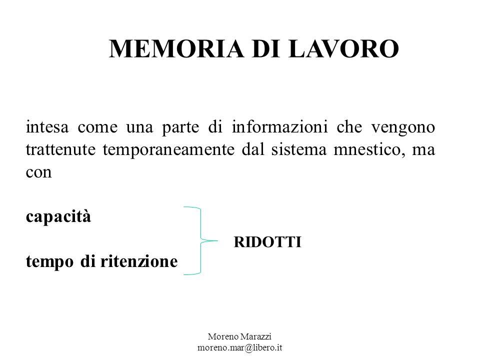 MEMORIA DI LAVORO intesa come una parte di informazioni che vengono trattenute temporaneamente dal sistema mnestico, ma con capacità tempo di ritenzione RIDOTTI Moreno Marazzi moreno.mar@libero.it