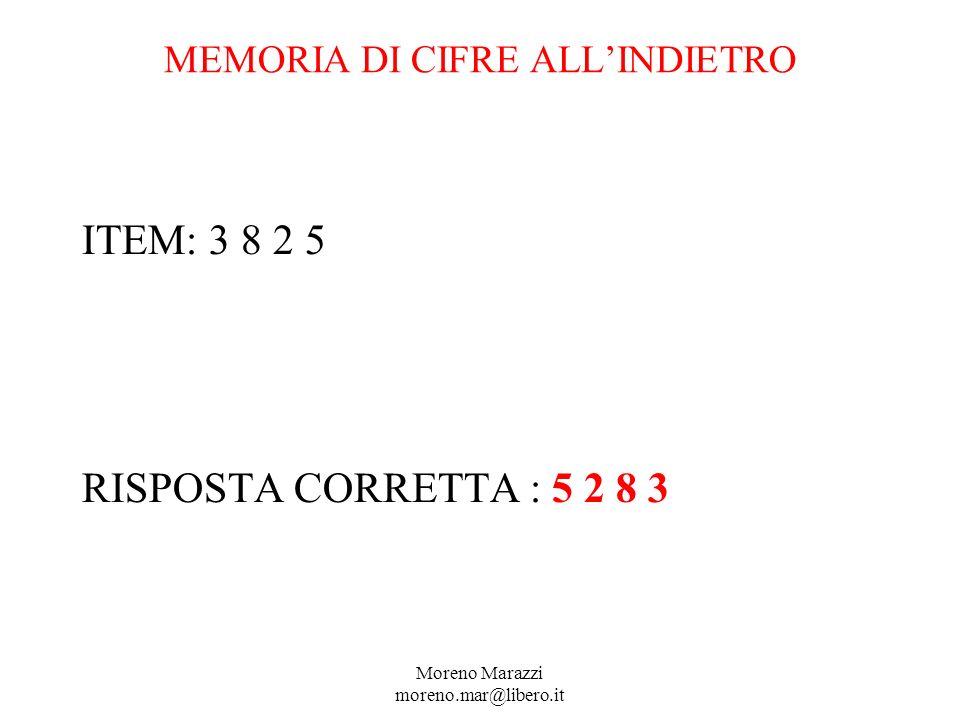 MEMORIA DI CIFRE ALLINDIETRO ITEM: 3 8 2 5 RISPOSTA CORRETTA : 5 2 8 3 Moreno Marazzi moreno.mar@libero.it