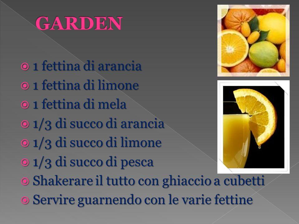 1 fettina di arancia 1 fettina di arancia 1 fettina di limone 1 fettina di limone 1 fettina di mela 1 fettina di mela 1/3 di succo di arancia 1/3 di s