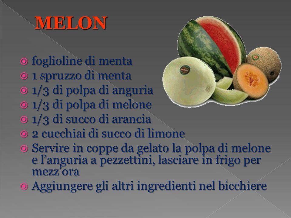 foglioline di menta foglioline di menta 1 spruzzo di menta 1 spruzzo di menta 1/3 di polpa di anguria 1/3 di polpa di anguria 1/3 di polpa di melone 1/3 di polpa di melone 1/3 di succo di arancia 1/3 di succo di arancia 2 cucchiai di succo di limone 2 cucchiai di succo di limone Servire in coppe da gelato la polpa di melone e languria a pezzettini, lasciare in frigo per mezzora Servire in coppe da gelato la polpa di melone e languria a pezzettini, lasciare in frigo per mezzora Aggiungere gli altri ingredienti nel bicchiere Aggiungere gli altri ingredienti nel bicchiere