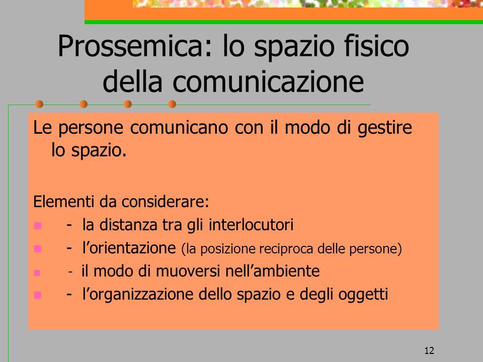 12 Prossemica: lo spazio fisico della comunicazione Le persone comunicano con il modo di gestire lo spazio. Elementi da considerare: - la distanza tra