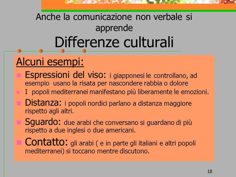 18 Anche la comunicazione non verbale si apprende Differenze culturali Alcuni esempi: Espressioni del viso: i giapponesi le controllano, ad esempio us