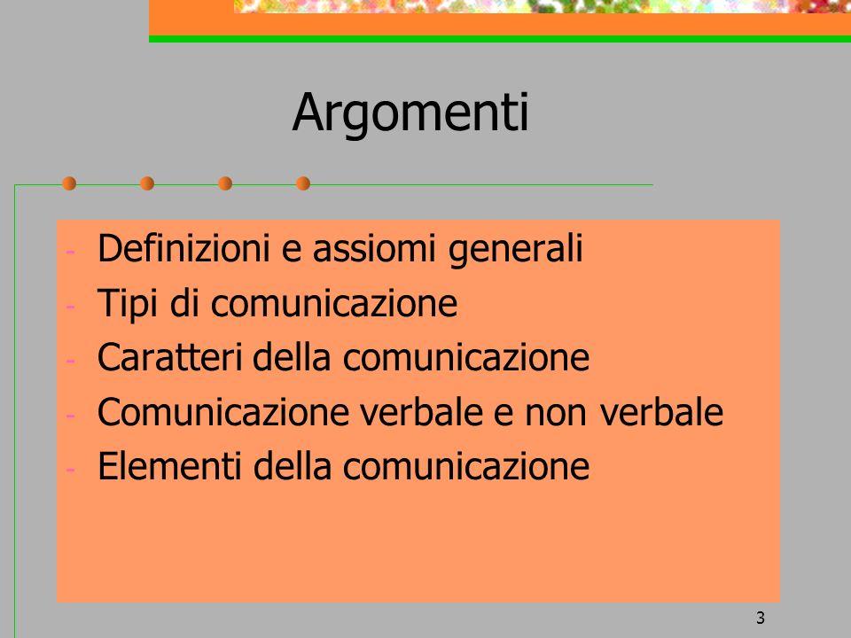 3 Argomenti - Definizioni e assiomi generali - Tipi di comunicazione - Caratteri della comunicazione - Comunicazione verbale e non verbale - Elementi