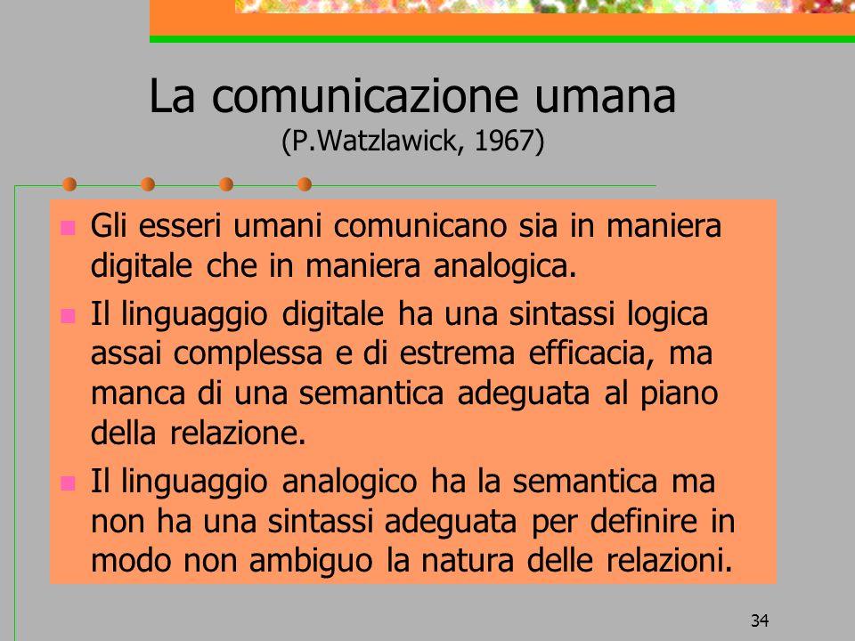 34 La comunicazione umana (P.Watzlawick, 1967) Gli esseri umani comunicano sia in maniera digitale che in maniera analogica. Il linguaggio digitale ha