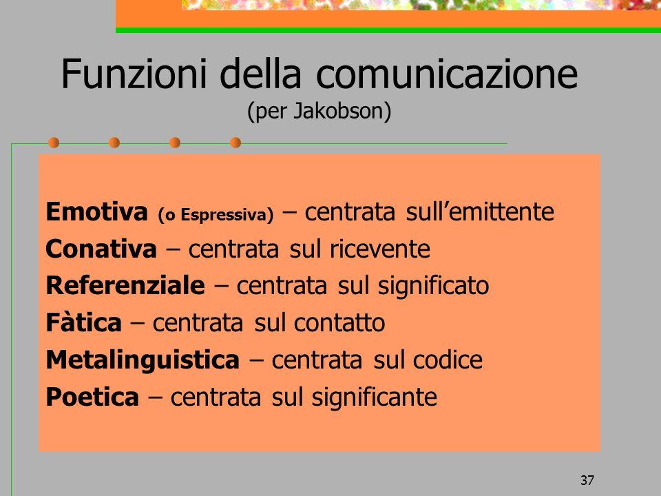 37 Funzioni della comunicazione (per Jakobson) Emotiva (o Espressiva) – centrata sullemittente Conativa – centrata sul ricevente Referenziale – centra