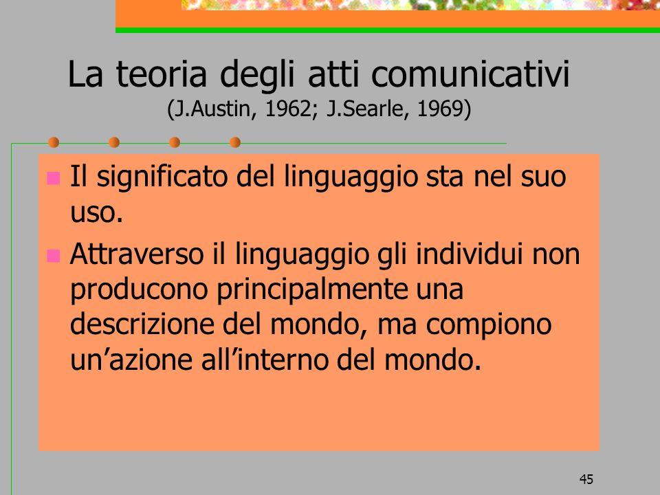 45 La teoria degli atti comunicativi (J.Austin, 1962; J.Searle, 1969) Il significato del linguaggio sta nel suo uso. Attraverso il linguaggio gli indi