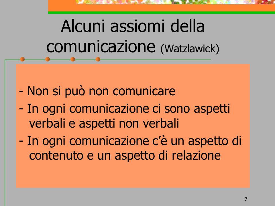 7 Alcuni assiomi della comunicazione (Watzlawick) - Non si può non comunicare - In ogni comunicazione ci sono aspetti verbali e aspetti non verbali -