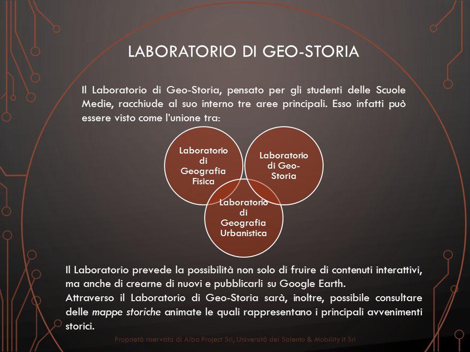 LABORATORIO DI GEO-STORIA Il Laboratorio di Geo-Storia, pensato per gli studenti delle Scuole Medie, racchiude al suo interno tre aree principali. Ess