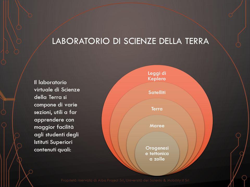 Leggi di Keplero Satelliti Terra Maree Orogenesi e tettonica a zolle LABORATORIO DI SCIENZE DELLA TERRA Il laboratorio virtuale di Scienze della Terra