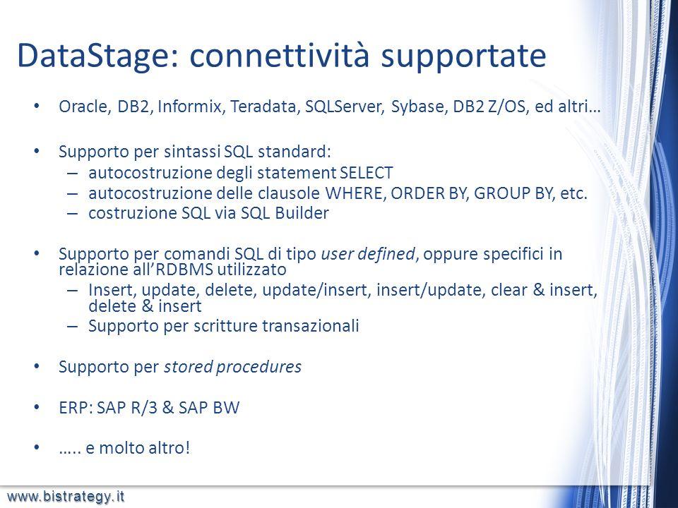 www.bistrategy.it Oracle, DB2, Informix, Teradata, SQLServer, Sybase, DB2 Z/OS, ed altri… Supporto per sintassi SQL standard: – autocostruzione degli
