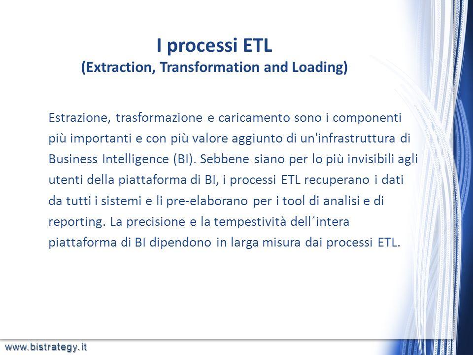 www.bistrategy.it Estrazione, trasformazione e caricamento sono i componenti più importanti e con più valore aggiunto di un'infrastruttura di Business