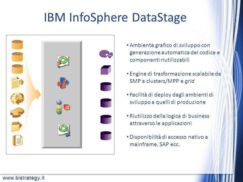 www.bistrategy.it IBM InfoSphere DataStage Ambiente grafico di sviluppo con generazione automatica del codice e componenti riutilizzabili Engine di tr
