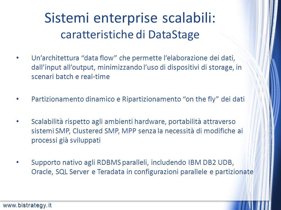 www.bistrategy.it Sistemi enterprise scalabili: caratteristiche di DataStage Unarchitettura data flow che permette lelaborazione dei dati, dallinput a