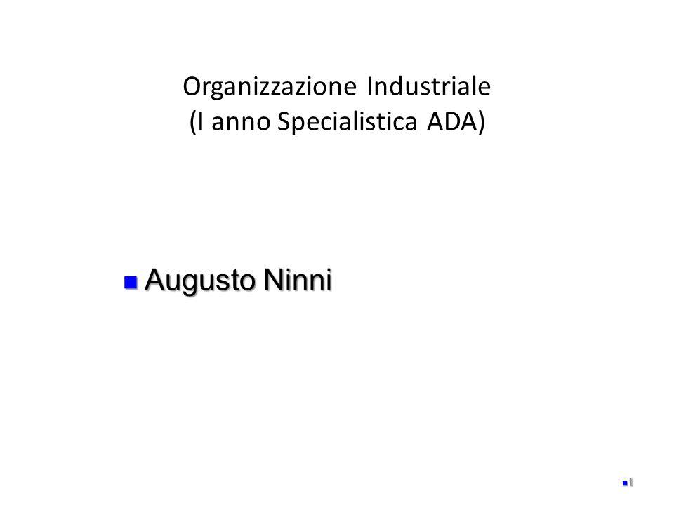 Organizzazione Industriale (I anno Specialistica ADA) 1 Augusto Ninni Augusto Ninni