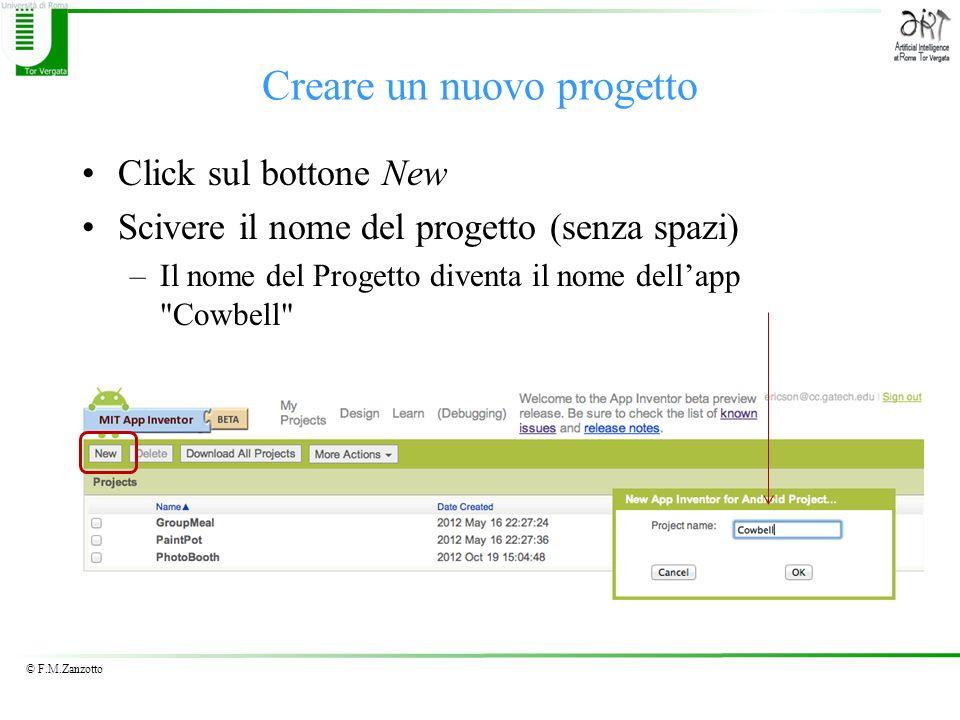 © F.M.Zanzotto Creare un nuovo progetto Click sul bottone New Scivere il nome del progetto (senza spazi) –Il nome del Progetto diventa il nome dellapp