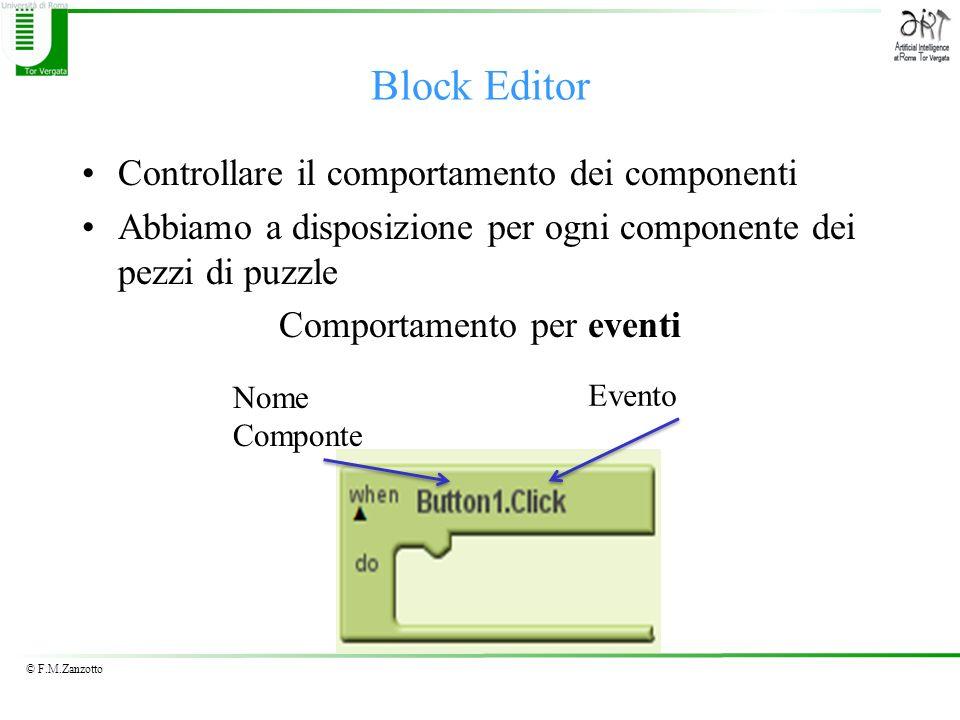 © F.M.Zanzotto Controllare il comportamento dei componenti Abbiamo a disposizione per ogni componente dei pezzi di puzzle Comportamento per eventi Blo