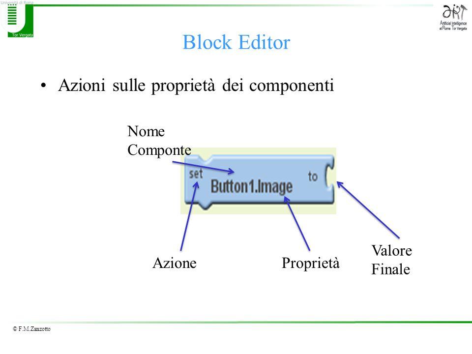 © F.M.Zanzotto Azioni sulle proprietà dei componenti Block Editor Nome Componte AzioneProprietà Valore Finale