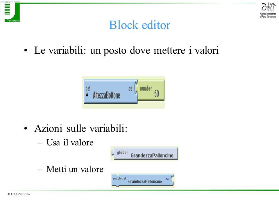© F.M.Zanzotto Le variabili: un posto dove mettere i valori Azioni sulle variabili: –Usa il valore –Metti un valore Block editor