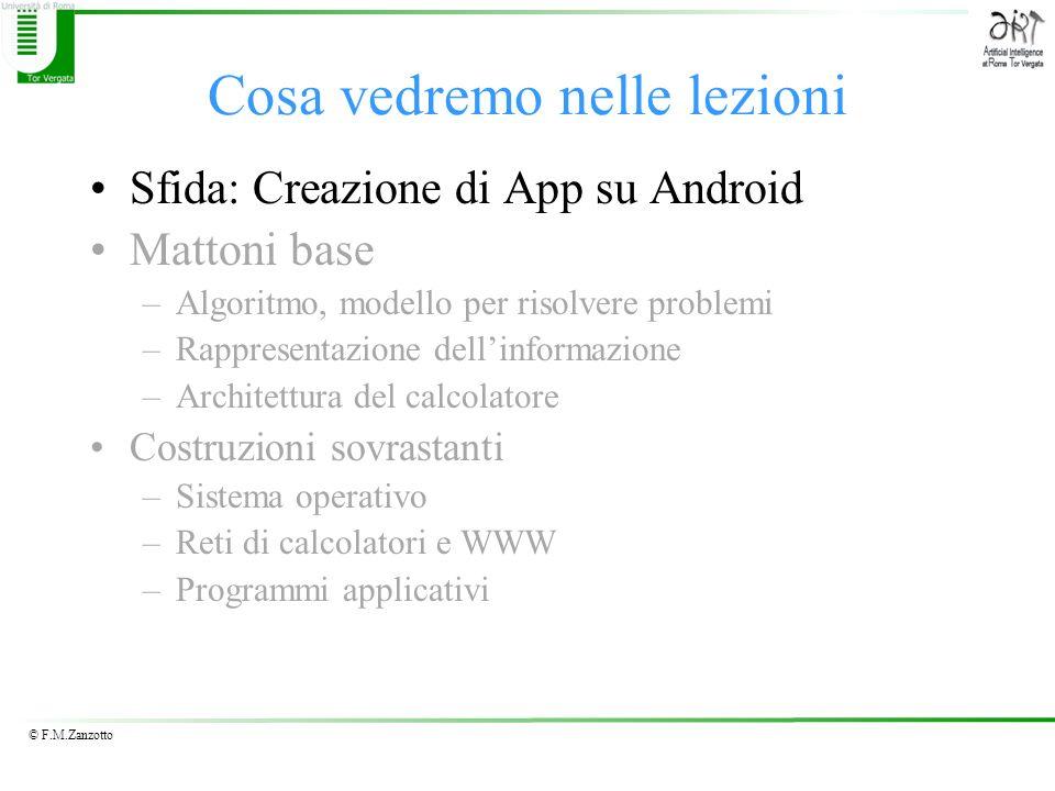 © F.M.Zanzotto Una lezione: Hands On (mani in pasta) Alcune slides sono una traduzione presa da App Inventor, Barb Ericson (presentazione)