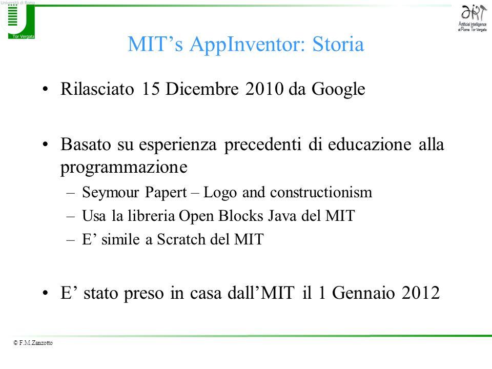 © F.M.Zanzotto MITs AppInventor: Storia Rilasciato 15 Dicembre 2010 da Google Basato su esperienza precedenti di educazione alla programmazione –Seymo