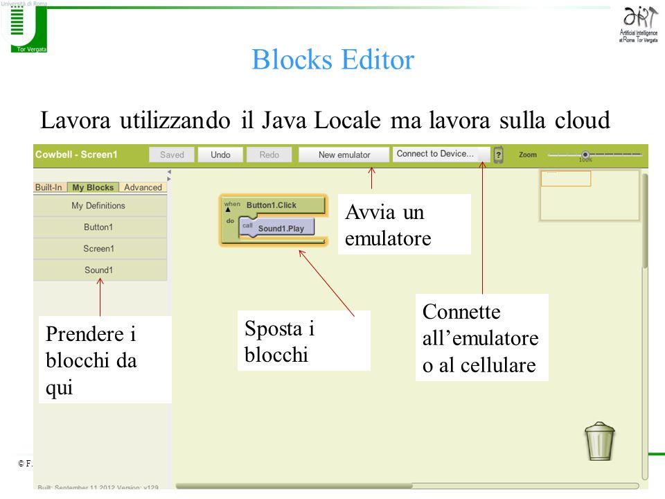 © F.M.Zanzotto Blocks Editor Lavora utilizzando il Java Locale ma lavora sulla cloud Sposta i blocchi Prendere i blocchi da qui Avvia un emulatore Con