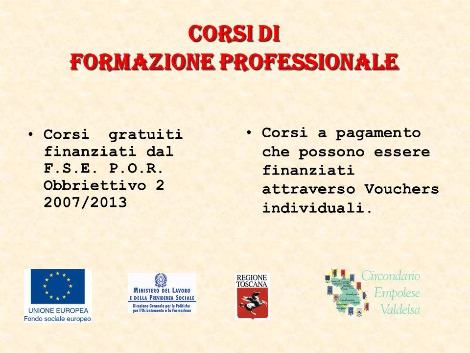Corsi DI formazione professionale Corsi gratuiti finanziati dal F.S.E.