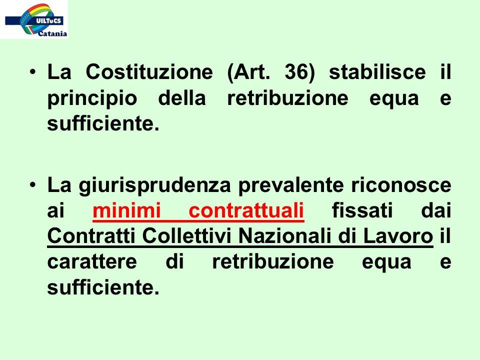 La Costituzione (Art. 36) stabilisce il principio della retribuzione equa e sufficiente. La giurisprudenza prevalente riconosce ai minimi contrattuali