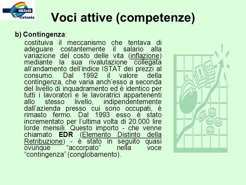b) Contingenza: costituiva il meccanismo che tentava di adeguare costantemente il salario alla variazione del costo delle vita (inflazione) mediante l