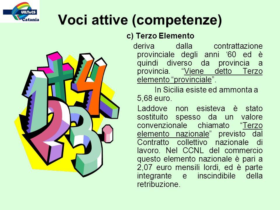 c) Terzo Elemento deriva dalla contrattazione provinciale degli anni 60 ed è quindi diverso da provincia a provincia.