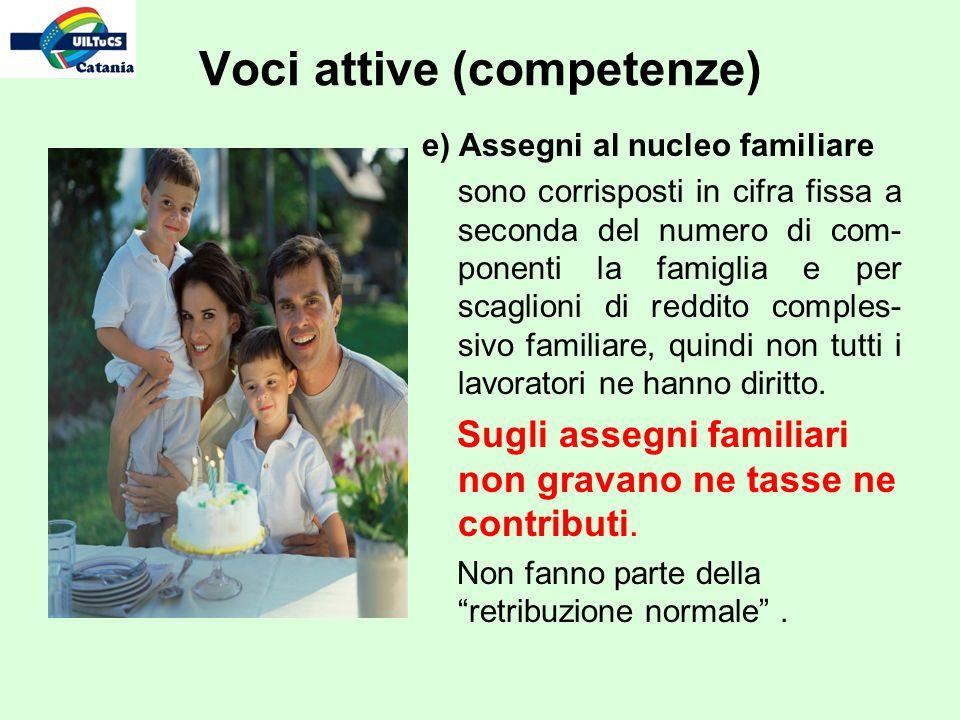 e) Assegni al nucleo familiare sono corrisposti in cifra fissa a seconda del numero di com- ponenti la famiglia e per scaglioni di reddito comples- sivo familiare, quindi non tutti i lavoratori ne hanno diritto.