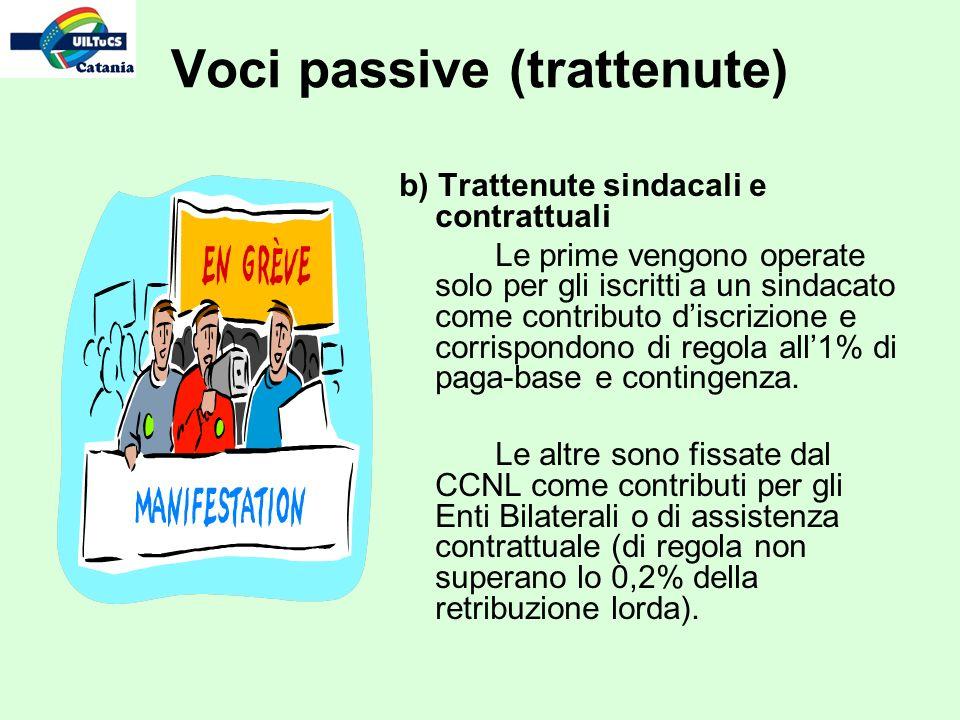 Voci passive (trattenute) b) Trattenute sindacali e contrattuali Le prime vengono operate solo per gli iscritti a un sindacato come contributo discrizione e corrispondono di regola all1% di paga-base e contingenza.
