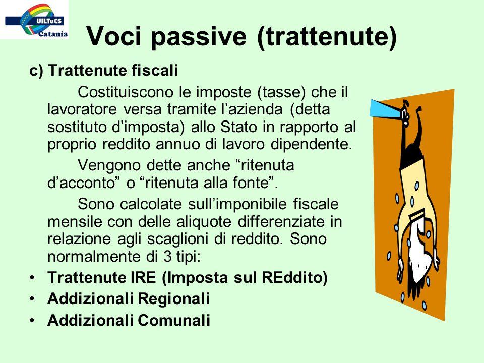 Voci passive (trattenute) c) Trattenute fiscali Costituiscono le imposte (tasse) che il lavoratore versa tramite lazienda (detta sostituto dimposta) a