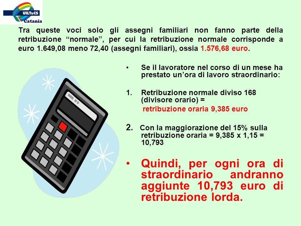 Tra queste voci solo gli assegni familiari non fanno parte della retribuzione normale, per cui la retribuzione normale corrisponde a euro 1.649,08 meno 72,40 (assegni familiari), ossia 1.576,68 euro.