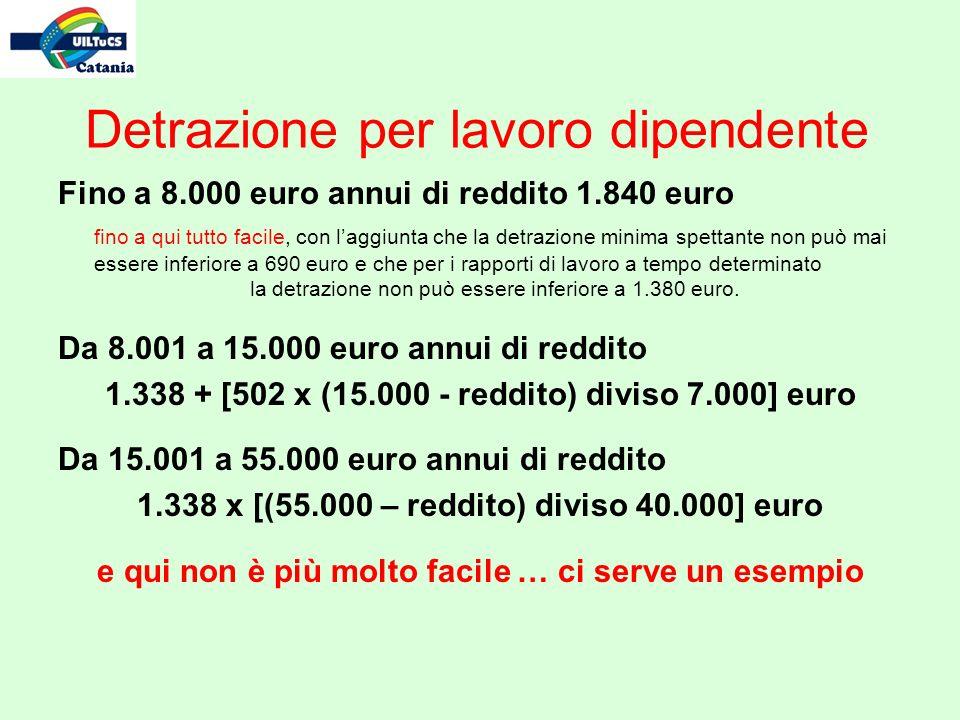 Detrazione per lavoro dipendente Fino a 8.000 euro annui di reddito 1.840 euro fino a qui tutto facile, con laggiunta che la detrazione minima spettan