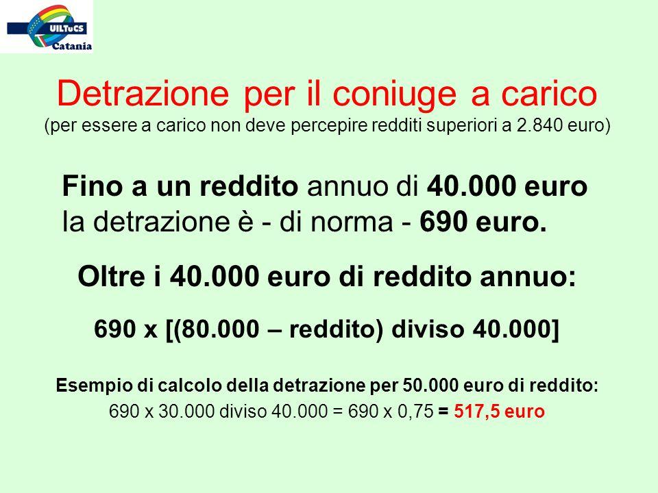 Detrazione per il coniuge a carico (per essere a carico non deve percepire redditi superiori a 2.840 euro) Fino a un reddito annuo di 40.000 euro la detrazione è - di norma - 690 euro.