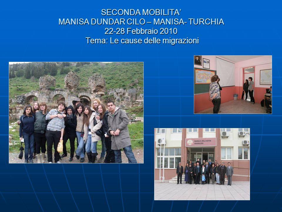 SECONDA MOBILITA MANISA DUNDAR CILO – MANISA- TURCHIA 22-28 Febbraio 2010 Tema: Le cause delle migrazioni