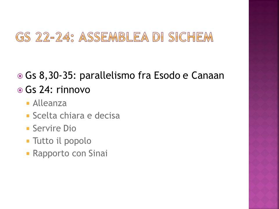 Gs 8,30-35: parallelismo fra Esodo e Canaan Gs 24: rinnovo Alleanza Scelta chiara e decisa Servire Dio Tutto il popolo Rapporto con Sinai