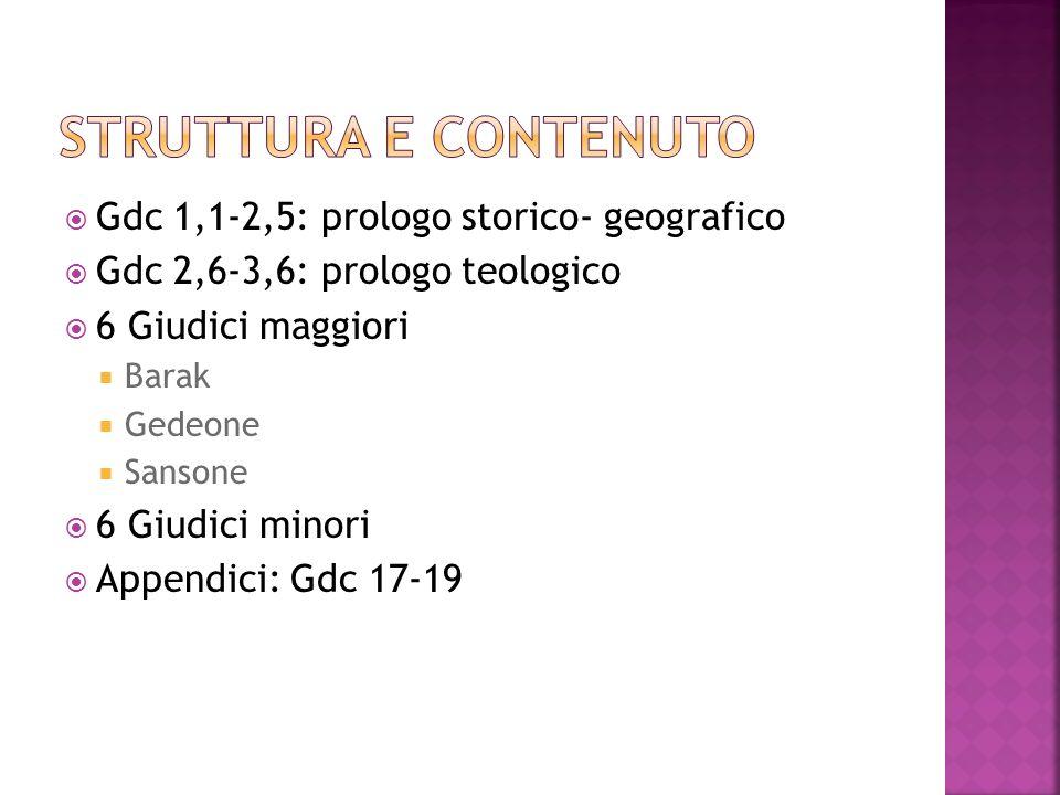 Gdc 1,1-2,5: prologo storico- geografico Gdc 2,6-3,6: prologo teologico 6 Giudici maggiori Barak Gedeone Sansone 6 Giudici minori Appendici: Gdc 17-19