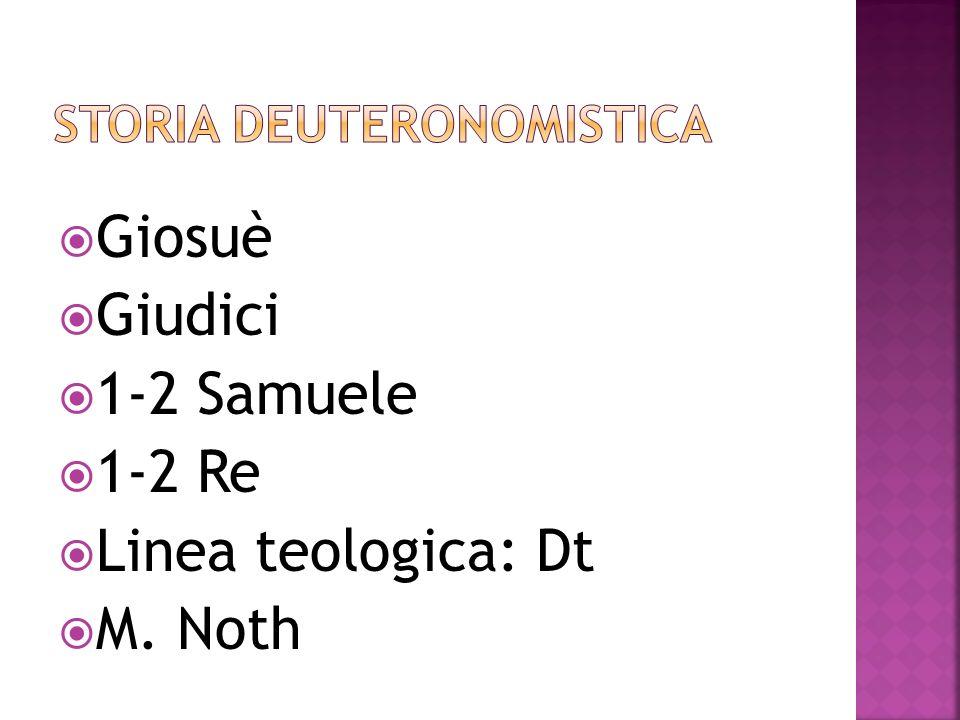 Giosuè Giudici 1-2 Samuele 1-2 Re Linea teologica: Dt M. Noth