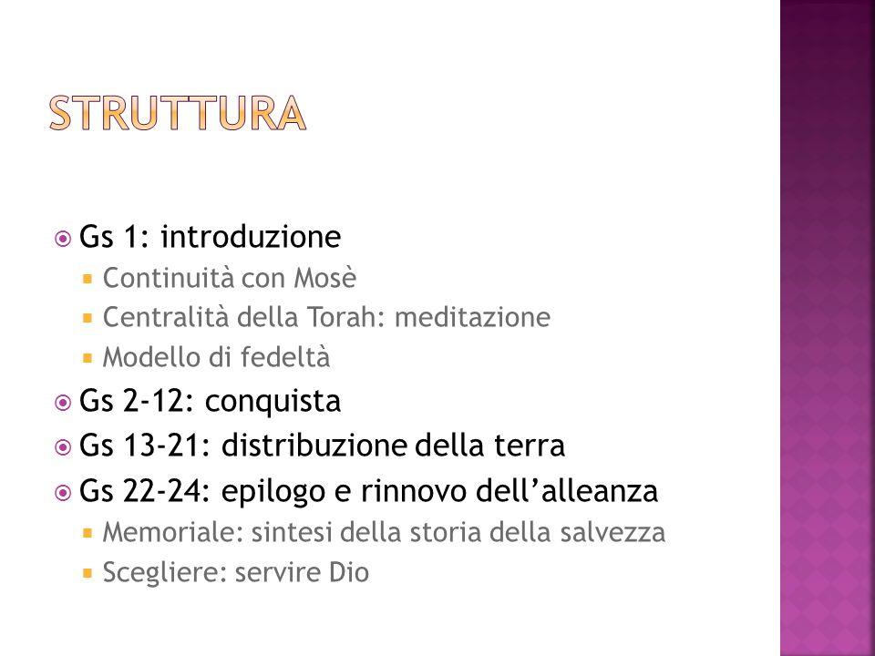 Gs 1: introduzione Continuità con Mosè Centralità della Torah: meditazione Modello di fedeltà Gs 2-12: conquista Gs 13-21: distribuzione della terra G